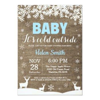 Baby Its Cold Outside Deer Winter Boy Baby Shower Invitation