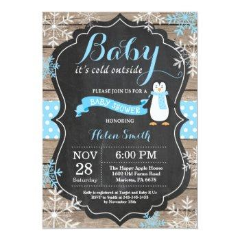 Baby Its Cold Outside Penguin Boy Baby Shower Invitation
