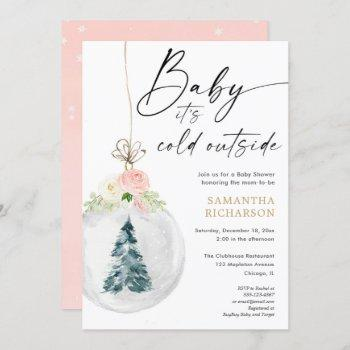 Baby It's Cold Outside Pink Gold Girl Christmas