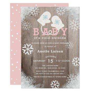 Baby Its Cold Outside Pink Shower Invitation