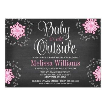 Baby It's Cold Outside Pink Snowflakes Baby Shower Invitation