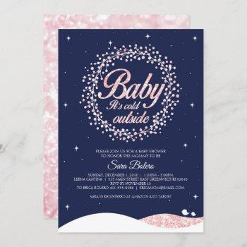 Baby It's Cold Outside Shower Navy Pink Sparkle Invitation