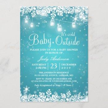 Baby Its Cold Outside Turquoise Winter Baby Shower