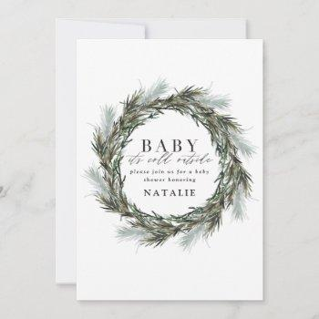 Baby It's Cold Outside Watercolor  Baby Shower Announcement