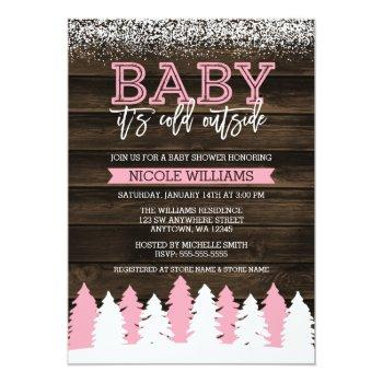Baby It's Cold Outside Winter Girl Baby Shower Invitation