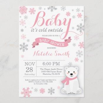 Baby Its Cold Outside Winter Girl Baby Shower Pink