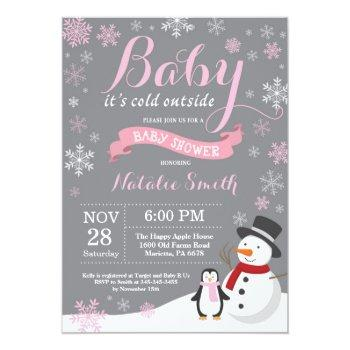Baby Its Cold Outside Winter Girl Baby Shower Pink Invitation