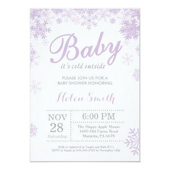 Baby Its Cold Outside Winter Purple Baby Shower Invitation