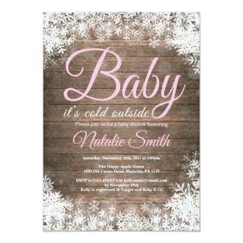 Baby Its Cold Outside Winter Snowflake Baby Shower Invitation
