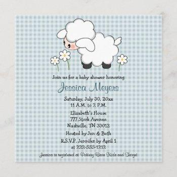 Baby Lamb Baby Shower Invitations Blue Gingham