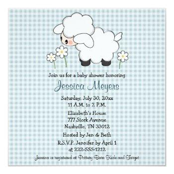 Baby Lamb Baby Shower Invitations Blue Gingham