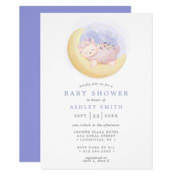 Baby Lamb On Moon Watercolor Baby Shower Invitation