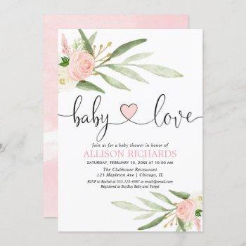 Baby Love Pink Gold Heart Greenery Girl Shower Invitation