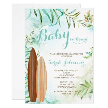 Baby On Board Surf Baby Shower Invitation