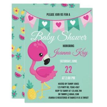 Baby Pink Flamingo Baby Shower Invitation