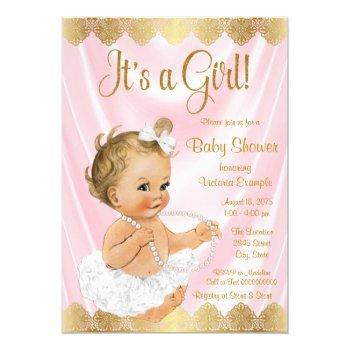 Baby Pink Gold Tutu Pearl Baby Shower Invitation