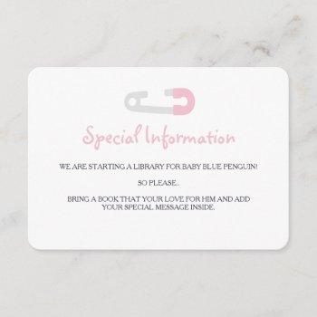 Baby Pink Penguin Information Inserts