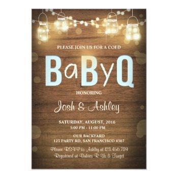 Baby Q Invitation Coed Bbq Baby Shower Rustic Blue