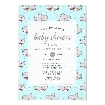 Baby Shark Ocean Fish Cute Boy Baby Shower Invitation