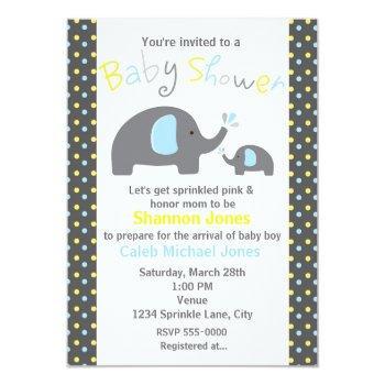 Baby Shower 2 Elephants Blue Polka Dot Invitation