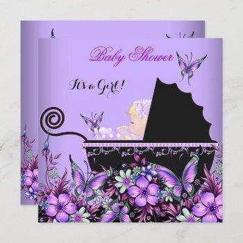 Baby Shower Baby Blonde Girl Purple Butterfly Invitation