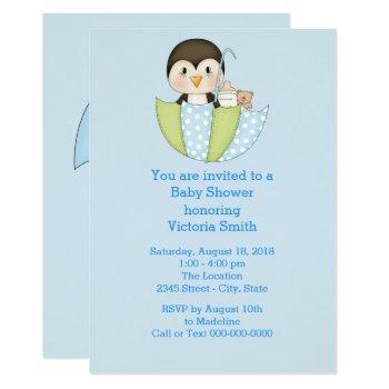 Baby Shower Baby Boy Penguin Invitation