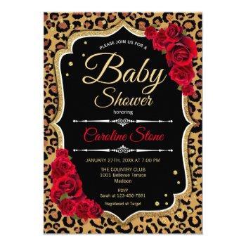 Baby Shower - Black Red Gold Leopard Print Invitation