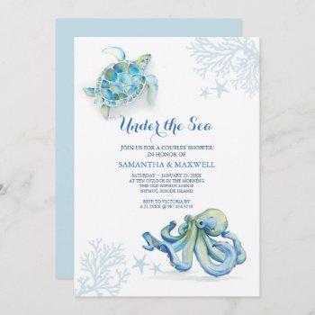 Baby Shower Blue Under The Sea Coastal Watercolor