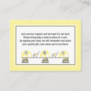 Baby Shower Book Insert Yellow Gray Elephants