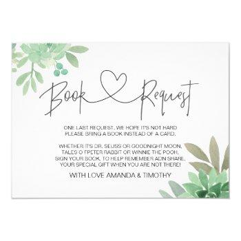 Baby Shower Book Request Gender Neutral Succulents Invitation