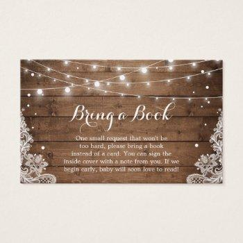 Baby Shower Book Request Rustic Winter Snow Lace