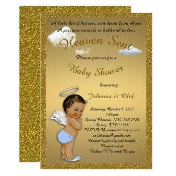 Baby Shower Boy, Baby Angel, Glitter, Gold Invitation