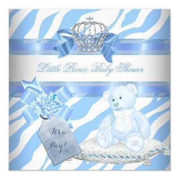 Baby Shower Boy Blue Zebra Prince Crown Teddy Bear Invitation