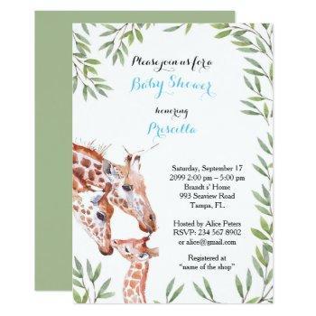 Baby Shower Boy, Giraffe, White, Almond, Leaves Invitation
