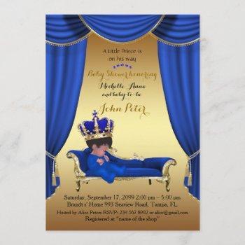 Baby Shower Boy,golden Strip,blue & Gold. Invitation