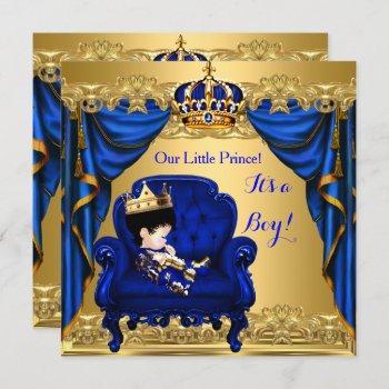 Baby Shower Boy Little Prince Royal Blue Golden 2 Invitation