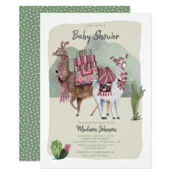 Baby Shower Boy   Llamas & Cactus   Invitations