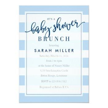 Baby Shower Brunch Invitation Stripes Boy