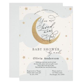 Baby Shower By Mail Blue Twinkle Star And Moon Invitation