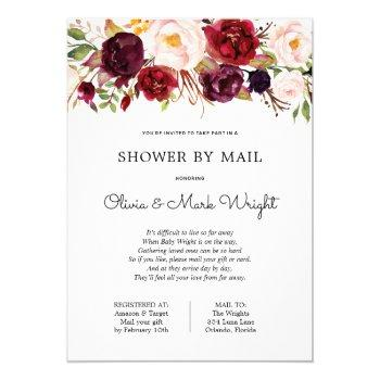 Baby Shower By Mail Burgundy Floral Invitation