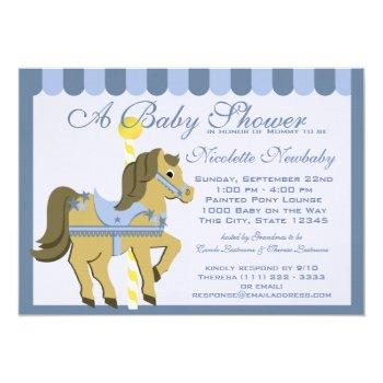 Baby Shower Carousel Blue Invitation