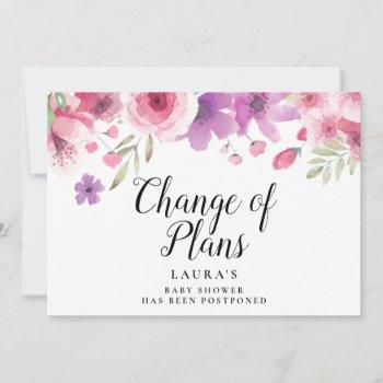 Baby Shower Change Of Plans Watercolour Floral Save The Date