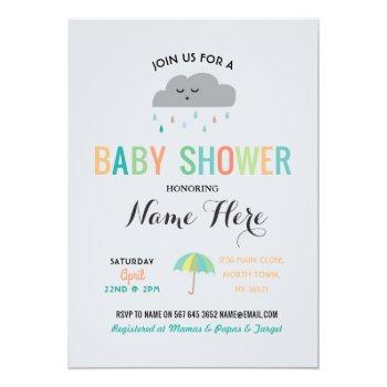 Baby Shower Cloud Sprinkle Umbrella Gender Reveal Invitation