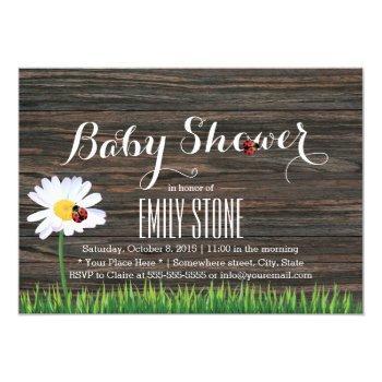 Baby Shower Cute Daisy & Ladybugs Elegant Wood Invitation