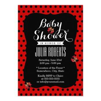 Baby Shower Cute Ladybugs Black & Red Dots Invitation
