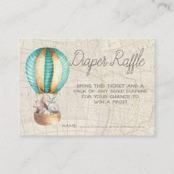 Baby Shower Diaper Raffle Tickets | Air Balloon Enclosure Card