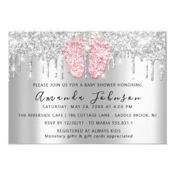 Baby Shower Drips Glitter Pink Feet Gray Boy Girl Invitation