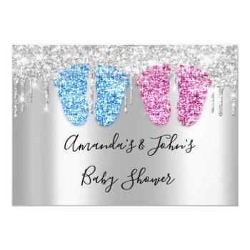 Baby Shower Drips Silver Feetstwins Boy Girl Blue Invitation