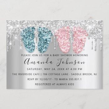 Baby Shower Drips Silver Gray Feet Twins Boy Girl Invitation