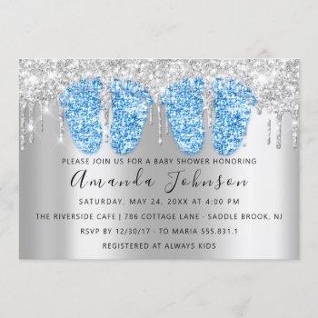 Baby Shower Drips Silver Gray Feet Twins Boys Invitation